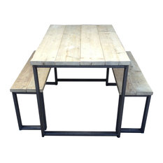 3-Piece Reclaimed Wood Dining Table Set, Unpainted Steel, Large