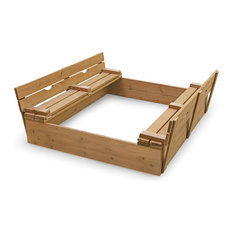 Covered Convertible Cedar Sandbox with Two Bench Seats - Natural