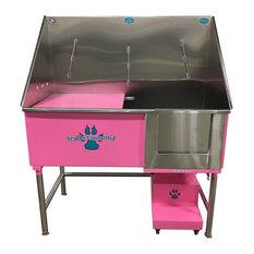 """Elite Dog Wash, Pink, 48"""", Left Drain"""