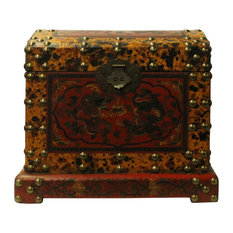 Chinese Distressed Yellow Red Dragon Graphic Trunk Box Chest Hcs4721