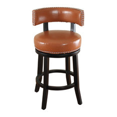 Mossoro Dark Brown Swivel Leather Counter Stool Light Brown