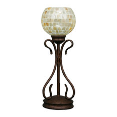"Swan Mini Table Lamp In Bronze, 6"" Mystic Seashell Glass"