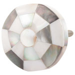 DaRosa Creations - Stunning Pearl Inlay Drawer Knob - This stunning drawer knob has a wooden base. On the top is a layer of mother of pearl shells in black, white and grey tones. The pearl inlay is arranged in a soccer ball pattern. This versatile drawer knob can be used in a shabby chic decor or use them in a tropical themed bathroom. Swapping Knobs can make a big impact!