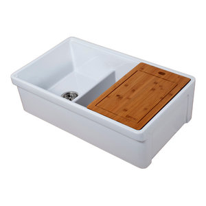 """Tosca Reversible Farmhouse 60/40 Double Sink, Cutting-Board, Grid, Strainer, 33"""""""