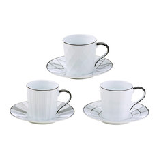 Set of 3 Lux Espresso Cups & Saucers by BIA, Black