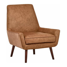 Accent Chair, Hardwood Legs With Padded Seat and Low Arms, Midcentury Style, Cog