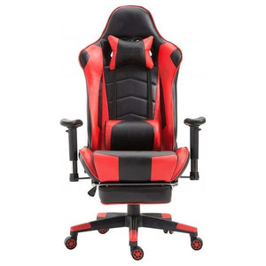 Modern Gaming Chair Upholstered, PU Leather With Neck and Lumbar Pillow, Red