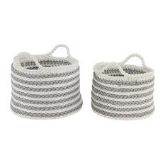 Large Round Striped Gray Mesh and White Cotton Rope Storage Baskets, 2-Piece Set