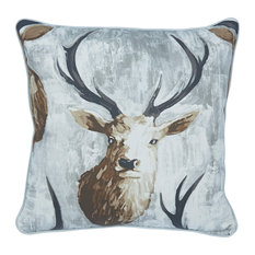Stag Print Cotton Scatter Cushion