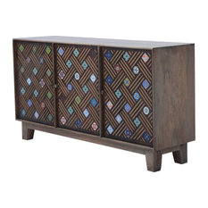 Katoomba Rustic Solid Wood Ceramic Tile Inlay Large Sideboard Cabinet