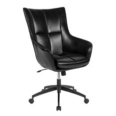 """Barcelona Home and Office Upholstered"""" Back Chair, Black Leather"""