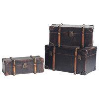 Old Style Leather Suitcase Decor, 3-Piece Set