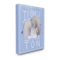 """The Kids Room I Love You A Ton Elephant Blue XXL Canvas Wall Art, 30""""x40"""""""