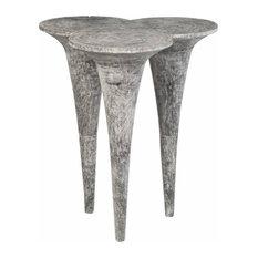 42-inch Long Bar Table Golf Tee Grey Stone Finish Solid Wood