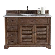 "48"" Vanity Cabinet, Driftwood, Carrara White Stone Top"