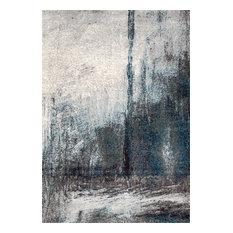 Midnight Fog Abstract Area Rug, Gray, 9'x12'