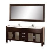 "Wyndham Collection Daytona 71""Espresso Vanity, Stone Top, Integral Sinks, Mirror"