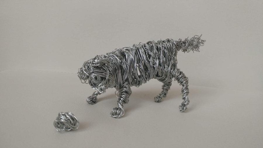 Playful Dog Wire Sculpture