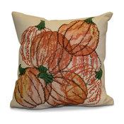 "Pumpkin Pile Geometric Print Outdoor Pillow, Orange, 18""x18"""