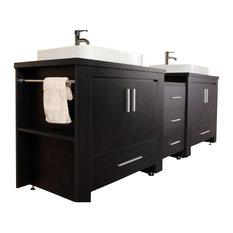 """Design Element DEC083-E Washington 92"""" Double Sink Vanity Set, Espresso"""