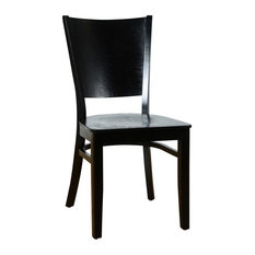 Hendrix Side Chair In Black With Wood Seat (Set Of 2)