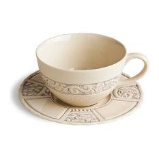 Flower Garden Latte Cup and Saucer Set, Set of 2, Lavender
