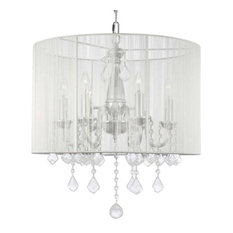 Plug in chandeliers houzz the gallery swag plug in chandelier with white shades chandeliers aloadofball Gallery