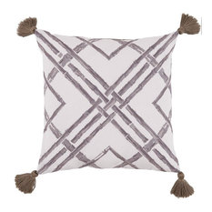 Bamboo Taupe Pillow with Tassels Lacefield