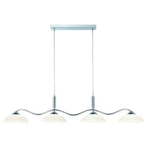Pendants 4-Light Chrome Bar Pendant With Frosted Glass Shade