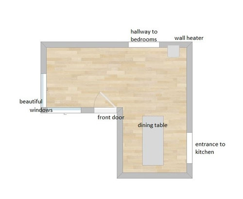 Small L Shaped Living/Dining Area - How to do layout?
