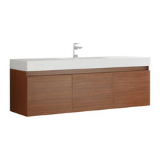 Fresca Mezzo 60-inch Teak Wall Hung Single Sink Cabinet With Integrated Sink