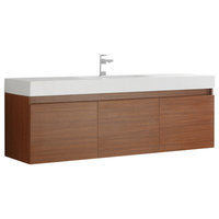 """Fresca Mezzo 60"""" Teak Wall Hung Single Sink Cabinet With Integrated Sink"""