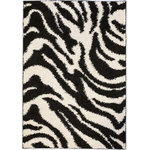 """Infinity Home Source - Madison Shag Safari Zebra Black 20""""x7'2"""" - Shag rugs that are fresh and lively perfect for Ultimate modern room setting.The pile is plush and is made of resilient polypropylene which is soft, durable and will remain in shape for years."""