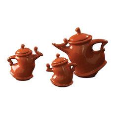 Howard Elliott Whimsical Tea Pots, Russet, 3-Piece Set