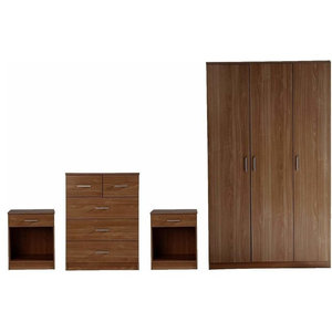 4-Piece Bedroom Furniture Sets With 3-Door Wardrobe, 5-Drawer Chest, 2-Bedside