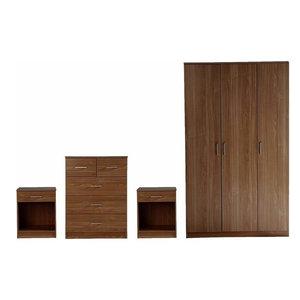 4-Piece Bedroom Furniture Sets With 3-Door Wardrobe, 5-Drawer Chest, 2-Bedside