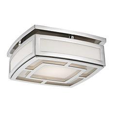 Elmore Small LED Flush Mount, Polished Nickel Finish, Frosted Glass
