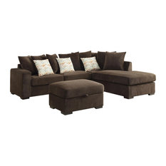 Coaster Fine Furniture - Coaster Olson Sectional Sofa Chocolate - Sectional Sofas  sc 1 st  Houzz : french country sectional sofas - Sectionals, Sofas & Couches