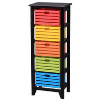 5-Tier Wooden Storage Cabinet,Black
