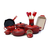 Le Creuset Cherry 20 Piece Cookware Set with 5.5 Quart French Oven
