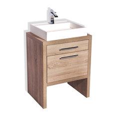 """Montreal Oak Bathroom Vanity, Natural Oak, 24"""", With Sink"""
