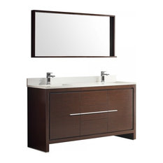 "Fresca Allier 60"" Wenge Brown Double Sink Bathroom Vanity With Mirror"