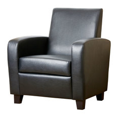 Abbyson Living Nancy Leather Club Chair, Black