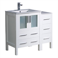 "Fresca Torino 36"" White Bathroom Cabinets with Integrated Sink"