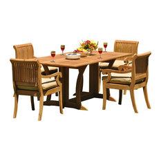 "5-Piece Outdoor Teak Set, 69"" Warwick Table, 4 Giva Chairs, Sunbrella Cushion"