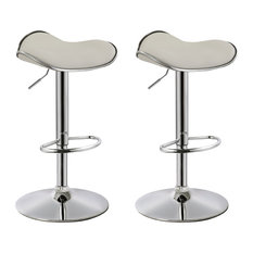 MOD - Dylan Backless Faux Leather Adjustable Bar Stools, Set of 2, White - Bar Stools and Counter Stools