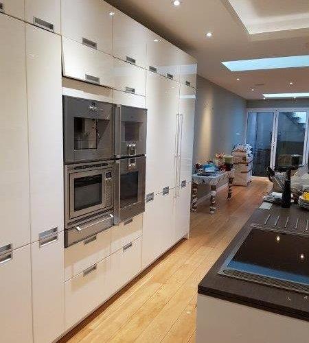 used white high gloss pronorm german designer kitchen gaggenau