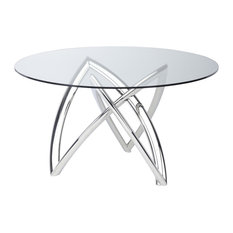 Martina 60-inch Dining Table in Polished Stainless Steel and Tempered Glass