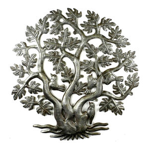 Tree Of Life With Birds Recycled Metal Wall Art Contemporary Metal Wall Art By The House Of Awareness