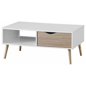 Contemporary Coffee Table in MDF with Tapered Legs, Open Shelf and Drawer